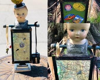 The Wander Art Doll Two Foot Totem Sculpture World Globe Found Object Travel Theme Art Doll Lorelie Kay Designs Original