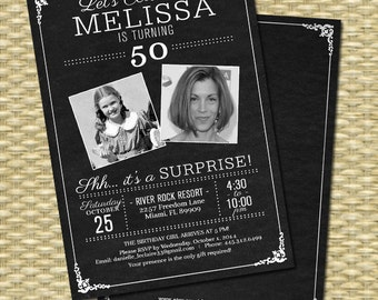 50th Birthday Invitation Chalkboard Photo Invitation Rustic Birthday Adult Birthday Invite, 21st, 30th, ANY EVENT, Printable or PRINTED