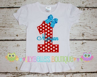 Girl's monogrammed birthday shirt or onesie - Red and Aqua, blue, turquoise
