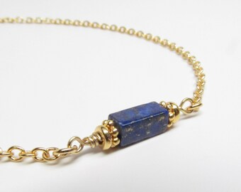 Gold Chain for Glasses with Genuine Lapis Lazuli, Glasses Lanyard, Reading Glasses Chain, Eyeglass Chain, Eyeglass Holder Necklace, Gemstone