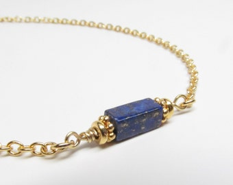 Gold Chain for Readers with Genuine Lapis Lazuli, Chain for Glasses Lanyard, Reading Glasses Chain, Eyeglass Chain, Eyeglass Holder Necklace