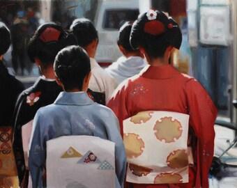 "Kotohajime - original oil painting on 14"" x 18"" canvas - japanese geisha art asian maiko artwork"