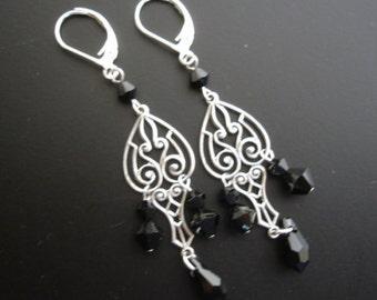 Antique silver Art Nouveau earrings