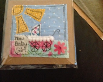 Free motion Embroidery New Baby Card