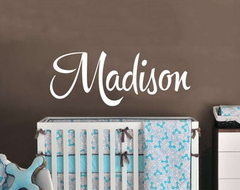 Baby Name Wall Decal - Shower Gift Baby Room Wall Decor - Hipster Name Decal - WAL-2158