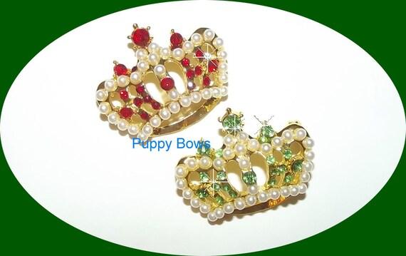Puppy Bows ~rhinestone Snow PEARL dog hair barrette TIARA pet clip ~ USA seller