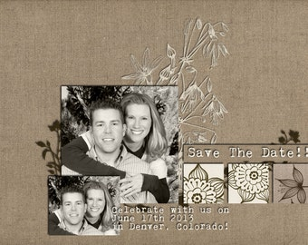 Custom Digital Photo Card - Save the Date - Natural Linen