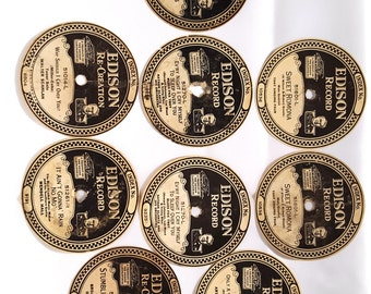 Nine Original Paper Edison Record Labels For Diamond Disc Records from the 1920's presented by Donellensvintage