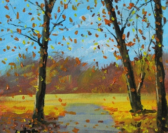 Autumn, landscape painting, oil on canvas panel, by Alen Grbic
