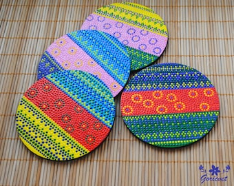 wooden coasters round coasters hand painted Easter gift kitchen decor drink coasters tea coasters New home gift for women gift for hostess