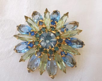 Vintage Juliana Brooch, D & E, Blue Green Rhinestone Pin, Vintage DeLizza and Elster 1960s Juliana Jewelry