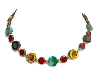 Bohemian Czech glass flower necklace. 18. Red, Yellow, blue, turquoise, and gold Czech beads .