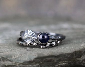 Twig & Leaf Blue Sapphire Engagement Ring Set - LIMITED EDITION - Nature Inspired - Blue Sapphire Rings - Jewellery Made in Canada