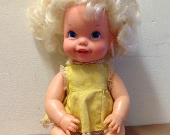 "1968 Bouncing Baby Doll Go Bye Bye vintage Mattel wobblehead 11"" yellow dress & panties set big blonde wavy hair blue eyes 1960's girl toy"