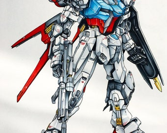 Aile Strike Gundam - Illustrated Giclee Print