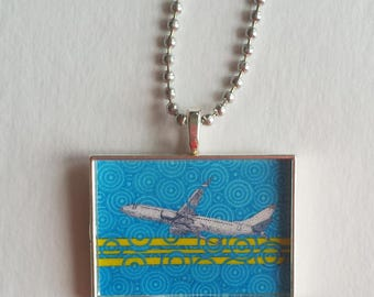 Airplane Necklace, Resin Charm, Plane Pendant, Gift For Pilot, Flight Attendant, Aviation, Blue Lime Green, Chem Trails, Flight School
