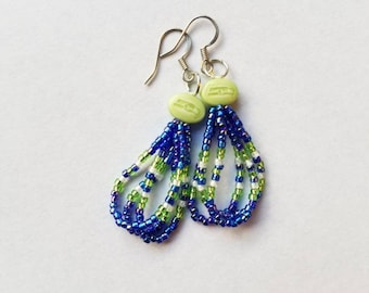 Blue Seahawks Dangle Earrings