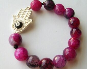 Magenta Hamsa Evil Eye Stretch Bracelet