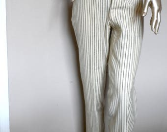 Vintage Wool Pale Yellow Striped Trousers* Size L . Front Button Fly . Wide Legs . Cuffs . Pockets . Tailored . Gotta Have Them!!