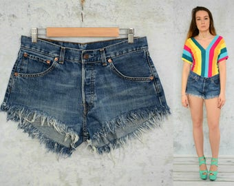 "Denim shorts vintage Levis High waisted Cutoff jeans frayed ripped distressed woman 1990's denim L large size 32"" waist"