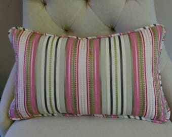 Pink Stripe Pillow Cover Pink Green Ivory Piping or Flange 18x18 20x20 22x22 13x20 14x22