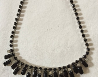 Onyx and Rhinestone on Silver Necklace