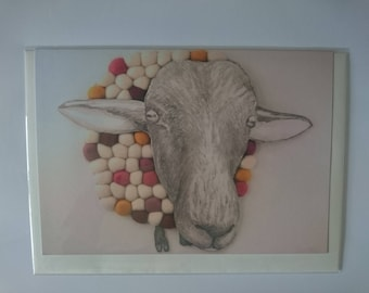 Sheep Greeting Card 'Hello Ewe' : A5 with envelope.
