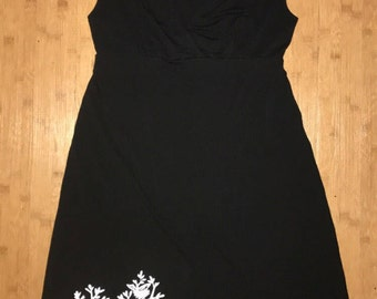 Upcycled Black Sleeveless V-Neck Crossover Dress with Bicycle Print Size M