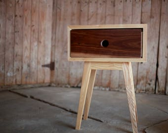 Pair of Ash and Walnut side table/ night stands