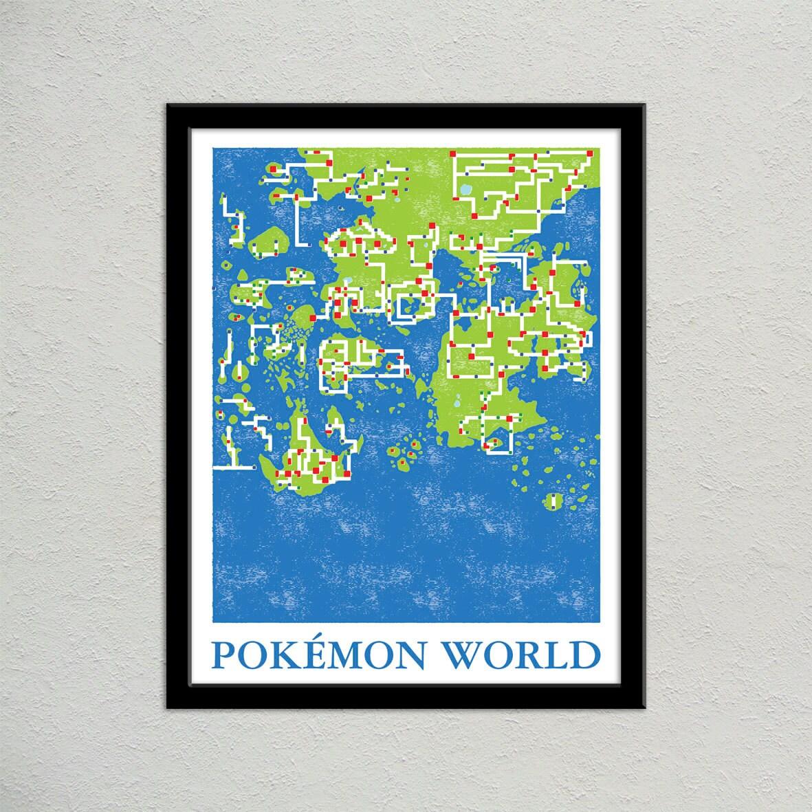 Pokemon world map print pokemon travel poster geek gift zoom gumiabroncs Gallery