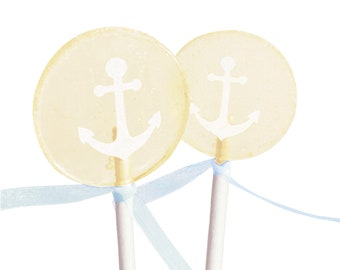Wedding Favors, Bridal Shower, Coastal Wedding, Bride To Be - French Vanilla Creme Anchor - 8 Lollipops with Ribbon