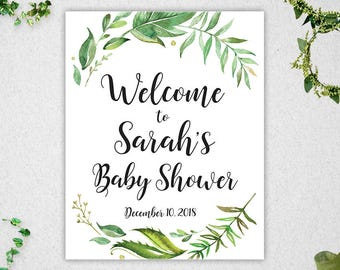 Greenery Baby Shower Welcome Sign // Customised  // Printable // Leafy Watercolor // Baby Shower // Welcome Sign // #PBP86