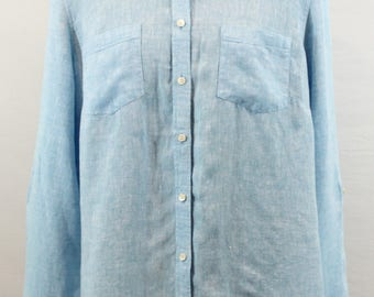 Light Blue 100% Linen Blouse by Talbots. Fall blouse, fall top, blue top, blue blouse, linen top, versatile top, classic blouse