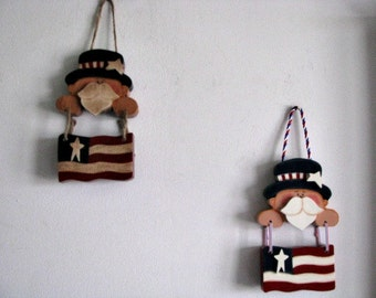 Uncle Sam wall hanging, flag,  primitive Americana, patriotic,  wall decor/decoration, 4th of July, wall hanging, gift for her, hostess gift