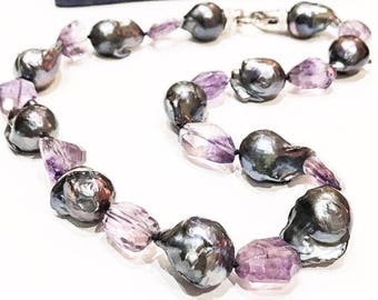 Baroque Pearl and Ametrine Necklace