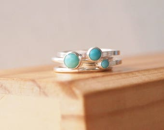 Turquoise Stacking Rings set - Sterling Silver & Turquoise triple ringset - December birthstone Jewelry - Gifts for her - December Birthday