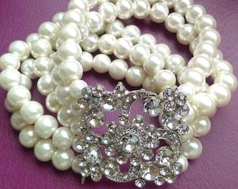 Stretch Pearl Wedding Bracelet, Bridal Bracelet, Ivory Pearl Bracelet Bridal Bracelet, Pearl Crystal Bracelet, Vintage Style Bracelet