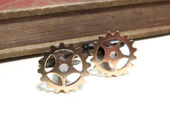 Raw Brass Gear Cuff Links - Soldered - Steampunk Victorian Antique Brass Cufflinks