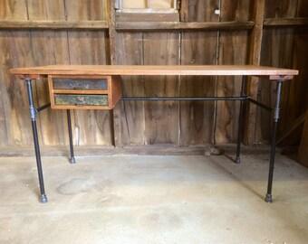 The Engineeru0027s Desk Reclaimed Wood Industrial Office Desk Standing Desk  Shared Workspace Rustic Modern Optional Steel