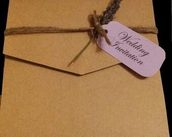 Rustic Walletfold Wedding Invitation with Lavender