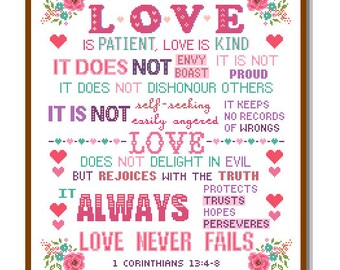 Modern Cross Stitch Pattern Corinthians 13:4-8 Love is Patient and kind Love never fails Bible verse scripture motivational Christmas cross