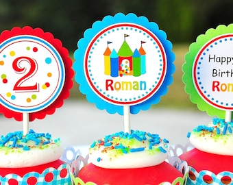 Bounce House Cupcake Toppers, Bounce House Birthday, Bounce Party - Set of 12