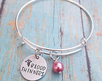 Blood Thinner Bracelet - Blood Thinner Jewelry - Medical ID - On Blood Thinners - Medical Jewelry - Medical Alert - Medical Bracelet