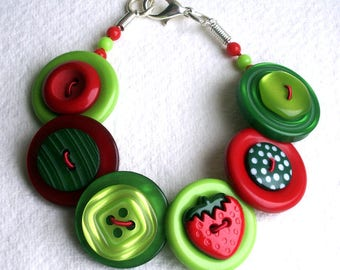 Strawberries Green, Red and Lime button bracelet Button Jewellery Button Jewelry UK Handmade