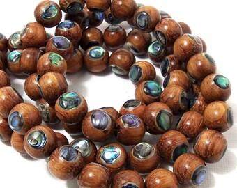 Bayong Wood with Abalone Shell Inlay, Natural, Round, Smooth, 10mm, Half Strand, 20pcs - ID 1713