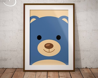 Blue Teddy Bear Art Print, Nursery Printables, Teddy Bear Print, Nursery Printable Wall Art, Boys Room Printable, Teddy Bear Nursery Decor