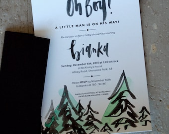 Birthday Boy Invites - Modern Calligraphy - Watercolor Accented - Card and Envelope - Forrest Theme