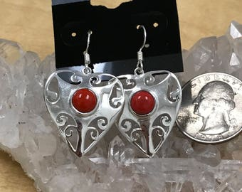 Red Coral Heart Earrings.