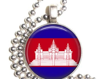 Cambodia Flag Art Pendant, Earrings and/or Keychain, Round Photo Silver and Resin Charm Jewelry, Flag Earrings, Flag Key Fob