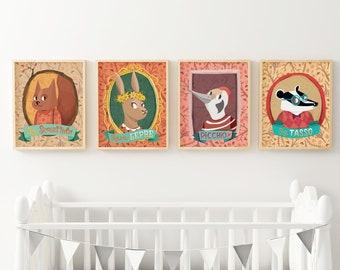 Set di 4 poster illustrati con ritratti di animali del bosco. Illustrazioni con tasso, scoiattolo, lepre, picchio
